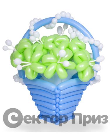 Корзина из шаров с цветами №16