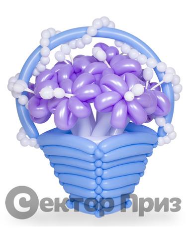 Корзина из шаров с цветами №17
