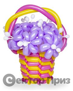 Корзина из шаров с цветами №14