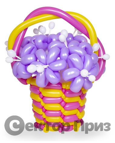 Корзина из шаров с цветами №18