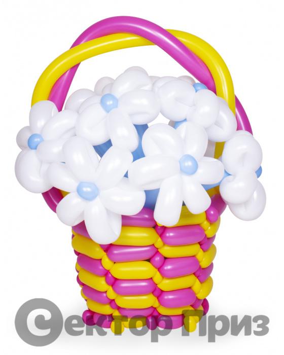 Корзина из шаров с цветами №19
