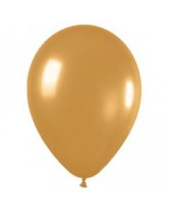 Шары ненадутые, Шар с воздухом золотой, 13 см. (569)