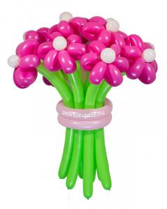 Букеты из воздушных шаров, «Розовая мечта» — 13 цветов из шаров