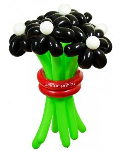Букеты из воздушных шаров, «Черная жемчужина» — 7 цветов из шаров