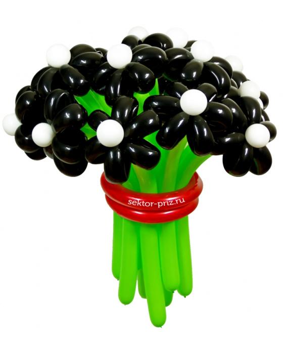 «Черная жемчужина» — 15 цветов из шаров
