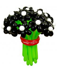 Букеты из воздушных шаров, «Черная жемчужина» — 23 цветка из шаров