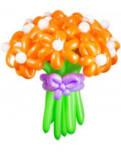 Букеты из воздушных шаров, «Солнечная улыбка» — 23 цветка из шаров