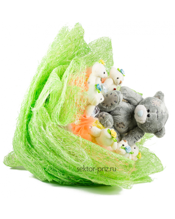 Букет из игрушек «Мишки в лесу»