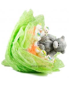 Букеты из мягких игрушек, Букет из игрушек «Мишки в лесу»
