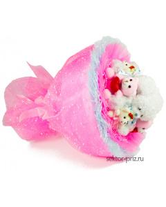 Букеты из мягких игрушек, Букет из игрушек «Розовая сказка»