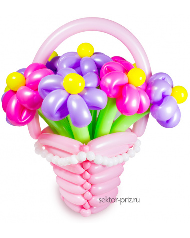 Корзина из шаров с цветами «Ромашка»