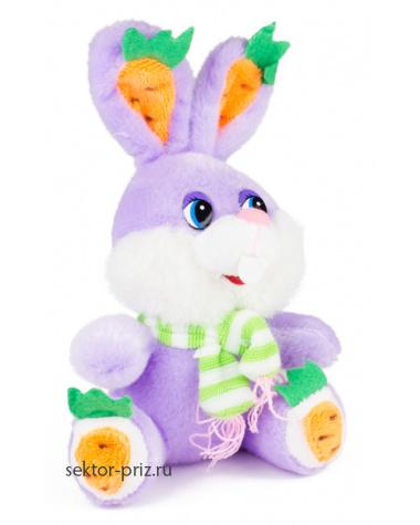 Мягкие игрушки, Мягкая игрушка «Зайчик в шарфике лиловый»