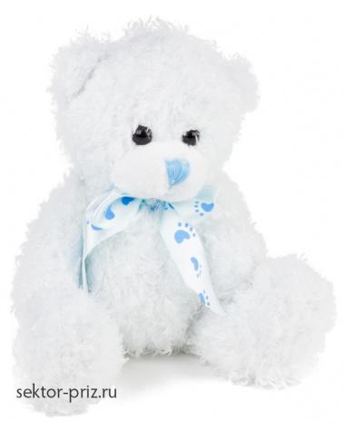 Мягкие игрушки, Мягкая игрушка «Медвежонок с бантом» голубой