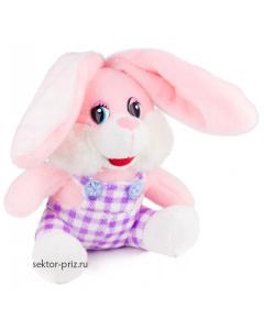Мягкие игрушки, Мягкая игрушка «Заяц в лиловом комбинезоне»