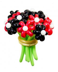 Букеты из воздушных шаров, «Поцелуй черной бабочки» — 13 цветов из шаров